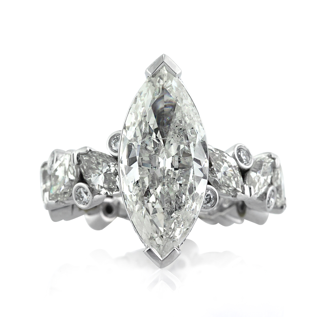 6.76ct Marquise Cut Diamond Engagement Ring Front View | Mark Broumand