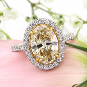 4.01ct Fancy Yellow Oval Cut Diamond Engagement Ring | Mark Broumand