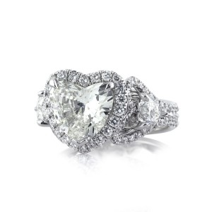 4.25ct Heart Shaped Diamond Engagement Ring Side | Mark Broumand