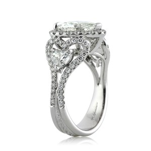 4.25ct Heart Shaped Diamond Engagement Ring Tall Angle | Mark Broumand