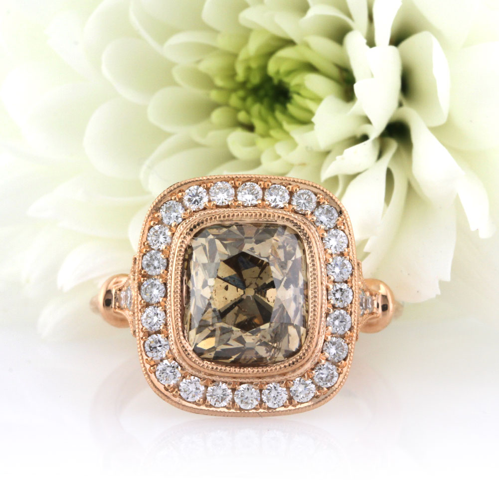 4.56ct Fancy Color Cushion Cut Diamond Engagement Ring   Mark Broumand