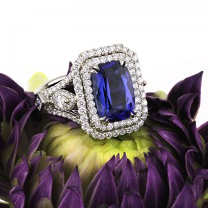 5.35ct Cushion Cut Sapphire and Diamond Engagement Ring | Mark Broumand