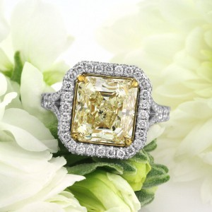 6.27ct Fancy Light Yellow Asscher Cut Diamond Engagement Ring | Mark Broumand
