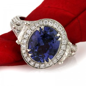 1.80ct Asscher Cut Diamond and Sapphire Engagement Ring | Mark Broumand
