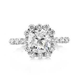 3.5 carat old mine cut diamond engagement ring flaunts a beautiful