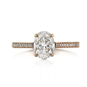 Oval Cut Single Band Engagement Ring, 1.45 Carats