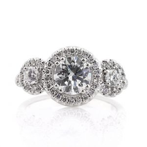 Round Brilliant Cut Diamond Engagement Ring with Side Stones, 2.29 Carats