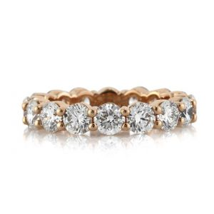 Round Brilliant Cut Eternity Wedding Ring on Rose Gold Setting, 3.9 Carats