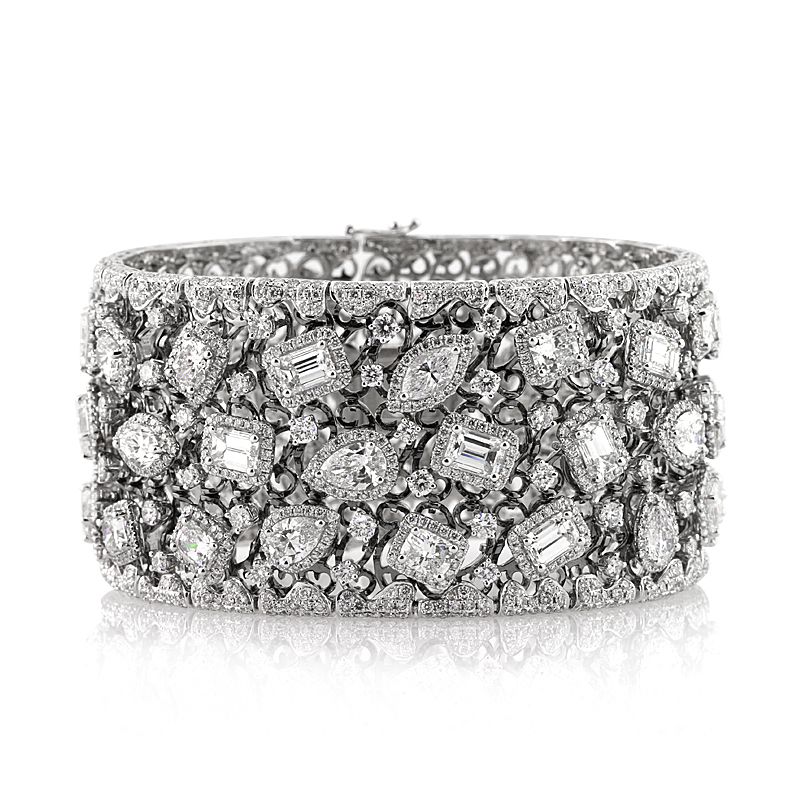 34.17ct Fancy Shape Diamond Cuff Bracelet