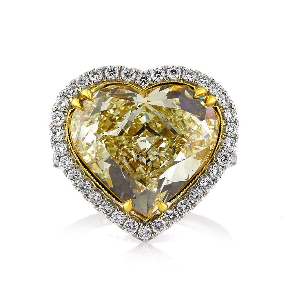 11.49ct Fancy Yellow Heart Shaped Diamond Engagement Ring | Mark Broumand