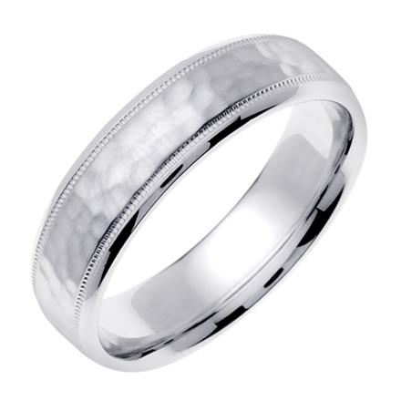 afbfdc2d53f2 Men s Handmade Hammered Finish Wedding Band in Platinum 6.0mm