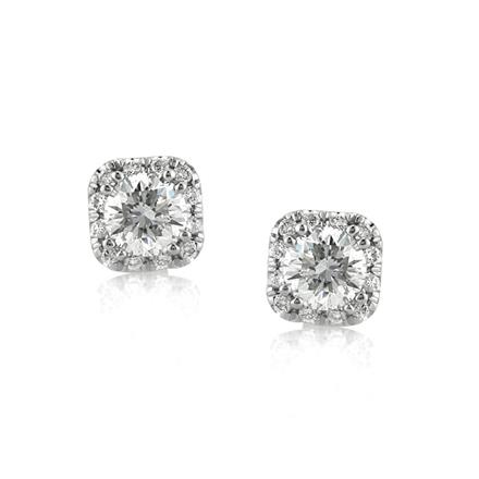 Add To My Wish List 1 00ct Round Brilliant Cut Diamond Cushion Halo Stud Earrings
