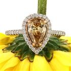 1.52ct Fancy Brown Yellow Pear Shaped Diamond Engagement Ring