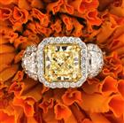 3.51ct Fancy Yellow Radiant Cut Diamond Engagement Ring