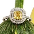 1.54ct Fancy Intense Yellow Cushion Cut Diamond Engagement Ring