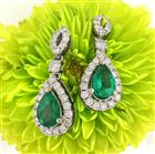2.31ct Pear Shaped Emerald and Diamond Earrings