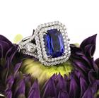 5.35ct Cushion Cut Sapphire and Diamond Engagement Ring