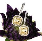12.20ct Fancy Light Yellow Cushion Cut Diamond Earrings