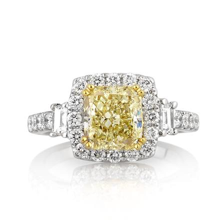 3.09ct Fancy Yellow Cushion Cut Diamond Ring | Mark Broumand