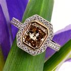 3.83ct Fancy Brown Yellow Radiant Cut Diamond Engagement Ring