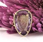 15.79ct Pear Shaped Amethyst and Diamond Right-Hand Fashion Ring