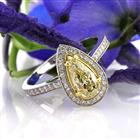 1.61ct Fancy Light Yellow Pear Shaped Diamond Engagement Ring
