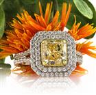 3.26ct Fancy Yellow Radiant Cut Diamond Engagement Ring