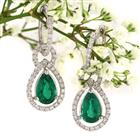 2.69ct Pear Shaped Emerald and Diamond Earrings