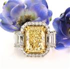 7.35ct Fancy Light Yellow Radiant Cut Diamond Engagement Ring