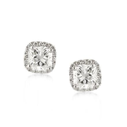 Add To My Wish List 1 26ct Cushion Cut Diamond Halo Stud Earrings