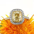 3.90ct Fancy Yellow Cushion Brilliant Diamond Engagement Ring