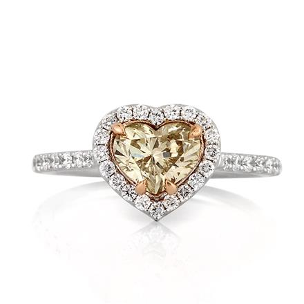 1 57ct Fancy Light Brown Yellow Heart Shaped Diamond Engagement Ring