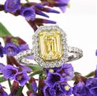 2.37ct Fancy Yellow Emerald Cut Diamond Engagement Ring