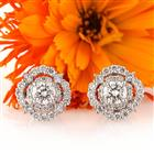 1.82ct Round Brilliant Cut Diamond Halo Stud Earrings
