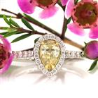 1.09ct Fancy Light Brown Green Yellow Pear Shaped Diamond Engagement Ring