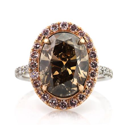chocolate diamond wedding ring 6 31ct fancy orange brown oval cut engagement 2863