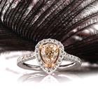 1.85ct Fancy Light Yellow Brown Pear Shaped Diamond Engagement Ring