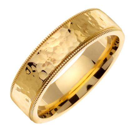 Mens Polished Hammered Finish Wedding Band in 18k Yellow Gold 70mm