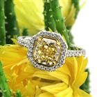 2.70ct Fancy Intense Yellow Octagonal Radiant Cut Diamond Engagement Ring
