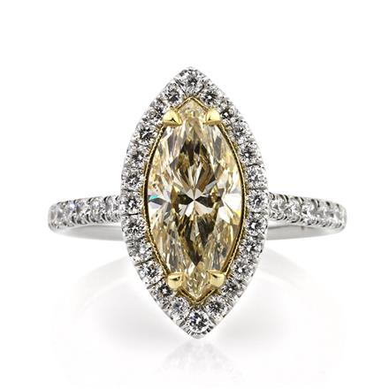 3.01ct Fancy Yellow Marquise Cut Diamond Engagement Ring
